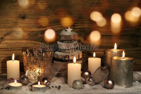 christmas still life with candles and