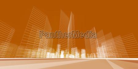 city concept 3d rendering