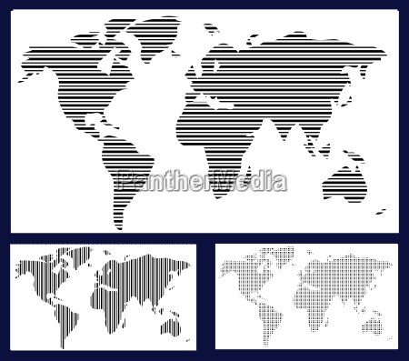 world map in stripes bars
