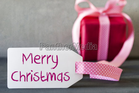 pink gift label text merry christmas