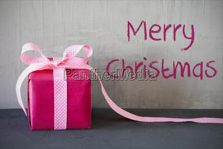 pink present text merry christmas