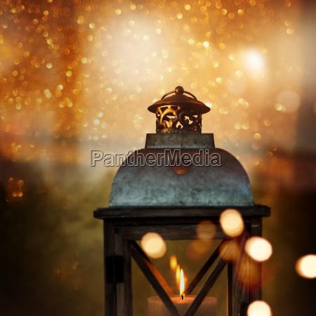 christmas still life with a lantern