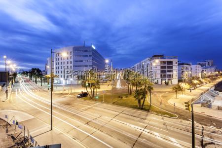 city of huelva at night spain