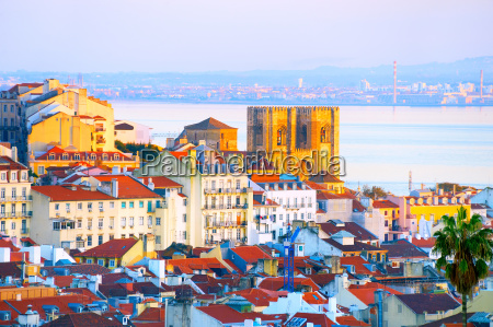 lisbon cathedral at sunset portugal