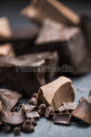 close up of chocolate pieces