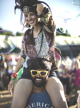 revellers at a summer music festival