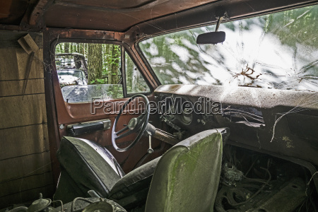 interior of abandoned pick up truck