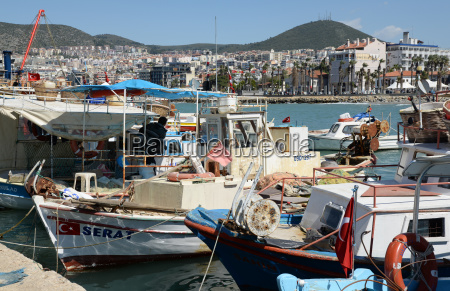 fishing boats in kusadasi turkey