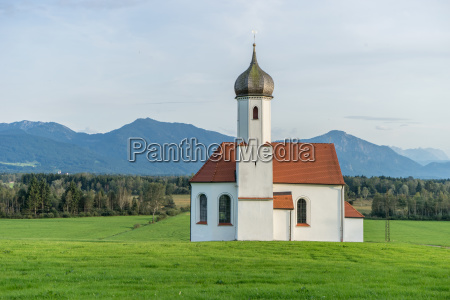 beautiful mountain landscape with church of