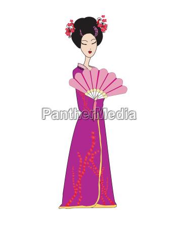 beautiful japanese geisha girl in kimono