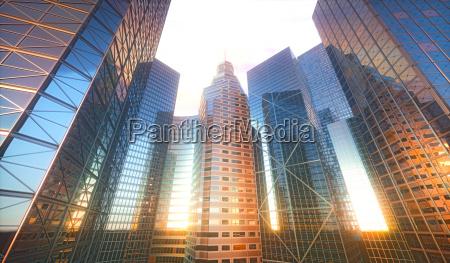 3d stadtbild sonnenreflexion