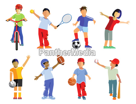 childrens sports collection and sports kids
