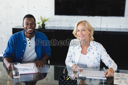 portrait of smiling business colleagues working