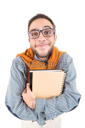 nerd der mit buechern aufwirft