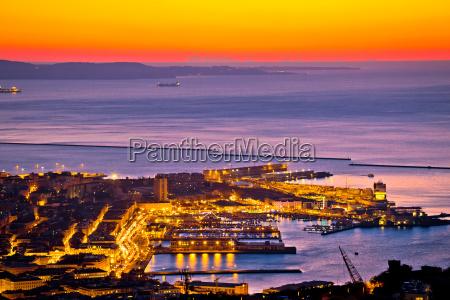 aerial evening view of trieste city