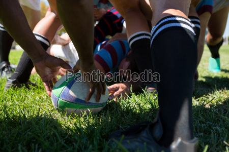 close up of rugby team at