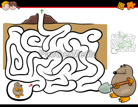 maze activity with mole animal