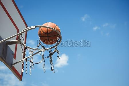 untersicht von basketball im reifen