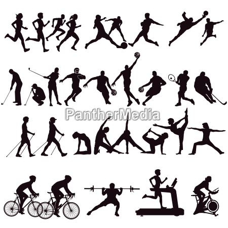 sports collection and leisure isolated