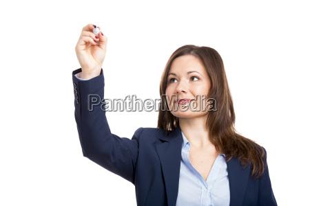 geschaeftsfrau die mit einem tablet arbeitet
