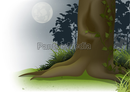 night scene with moon and tree