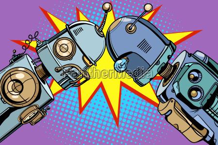 alter roboter gegen neue weinleseillustrationen