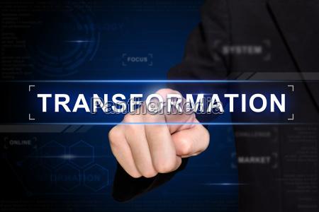 business hand push transformation taste auf