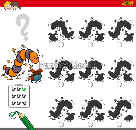 educational shadow game with insect characters