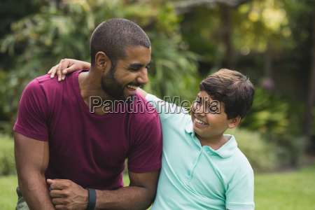 father and son enjoying at park