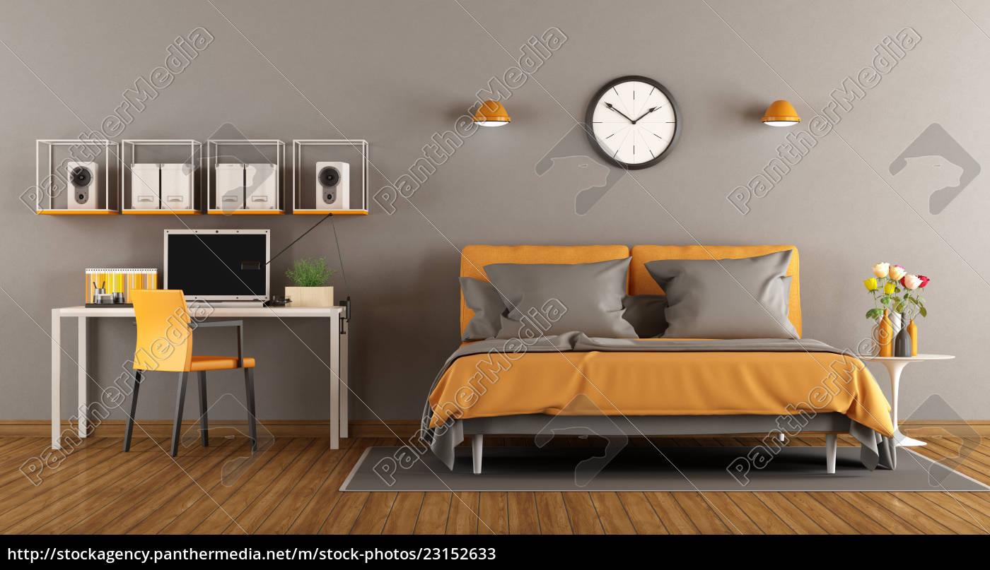 Lizenzfreies Bild 23152633 - modernes schlafzimmer mit bett und  schreibtisch wiedergabe 3d