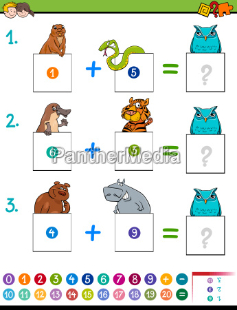 maths addition educational game with animals