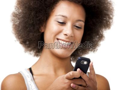 beautiful woman at cellphone