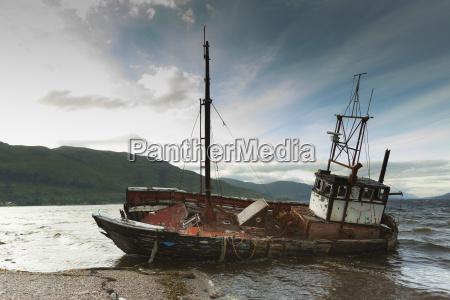 uk ship wreck at seafront