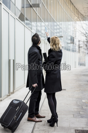 businessman and businesswoman in the city