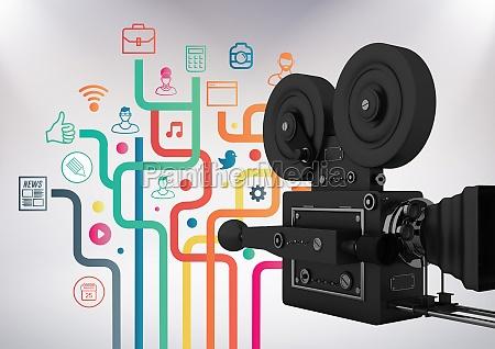 3d film kamera vor grauem hintergrund