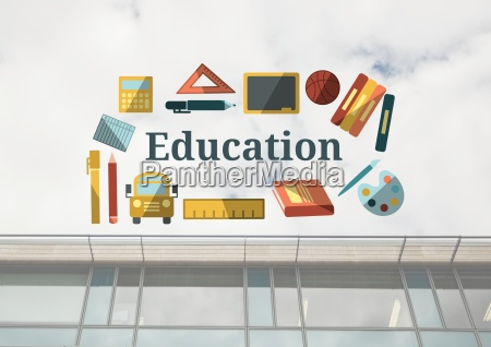 education text with drawings graphics