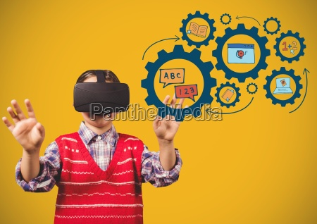 child with virtual reality headset touching