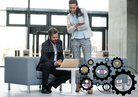 business man and woman looking at