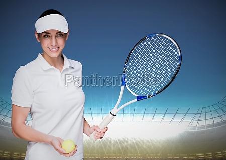 tennis player against stadium with bright