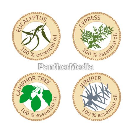 set of flat essential oil labels
