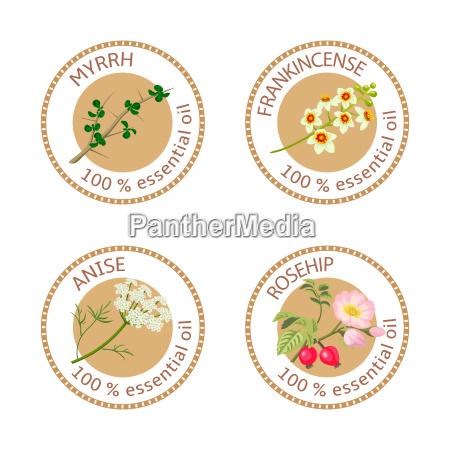 set of essential oils labels myrrh