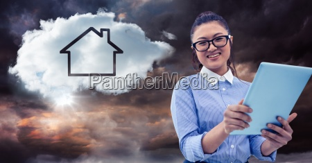 woman with tablet and cloud with