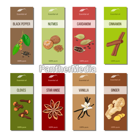 essential oil labels collection nutmeg cardamom