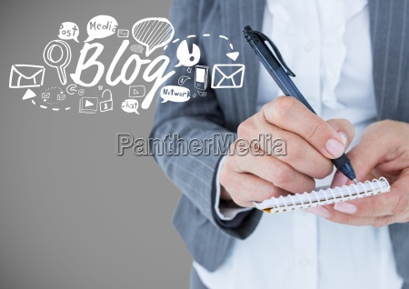 businessman with blog and business graphics