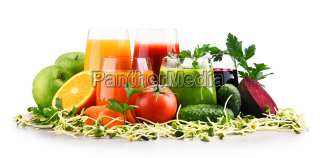 glasses with fresh organic vegetable and