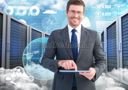 businessman using digital tablet against data