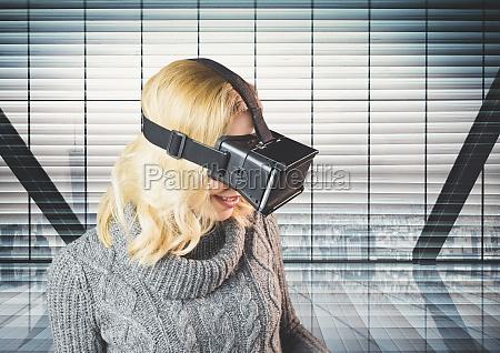 laechelnde frau die virtuellen wirklich kopfhoerer