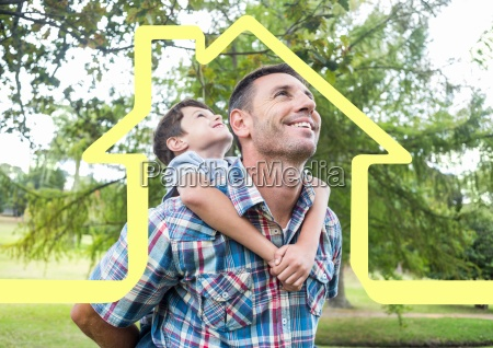 home outline with father carrying his