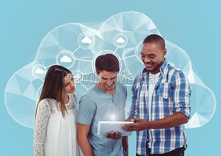 colleagues using digital tablet against cloud