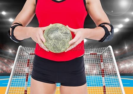 mittlerer abschnitt eines weiblichen handballspielers der